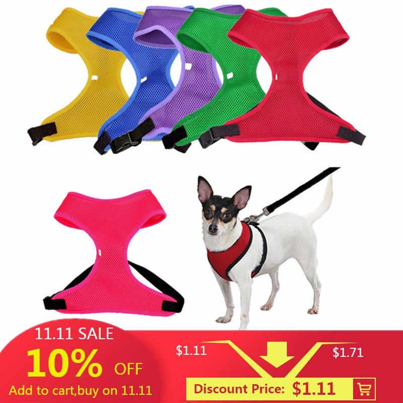 1 PC regulowany Pet Puppy siatka nylonowa kamizelka szelki dla psa kołnierz pas na klatkę piersiową smycz szelki dla psów koty 6 kolory XS ~ XL dostępne