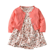 Baby Girl Clothes Kids Clothes cotton 2019 spring autumn new  O-neck Print  Baby Set Long sleeve coat + dress  Baby Clothes 2017 new arrival newborn baby boy girl set clothes cotton full sleeve striped hooded coat elephant print o neck romoper pants