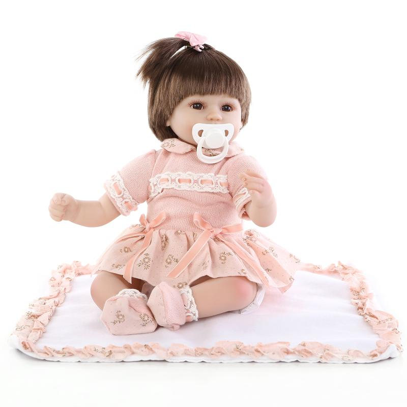 16 40cm Lovely Soft Silicone Vinyl Reborn Baby Doll Lifelike Accompany Sleep Newborn Doll for Girl Bedtime Toy Birthday Gift lovely panda in pink dress big 90cm plush toy panda doll soft throw pillow proposal birthday gift x030