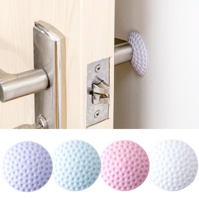 1Pcs Or 2Pcs Home Office Practical Self Adhesive Round Wall Protector Door Handle Bumper Guard Stopper Rubber Silencer Crash Pad