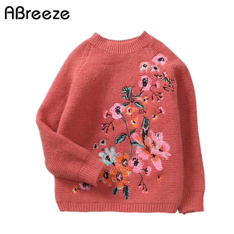2-8 Jahr Kinder Mädchen Kleidung Tops Neue 2017 Herbst Marke Top Qualität Kaschmir Baumwolle Blume Stickerei Pullover Pullover Tragen QualitäT Und QuantitäT Gesichert