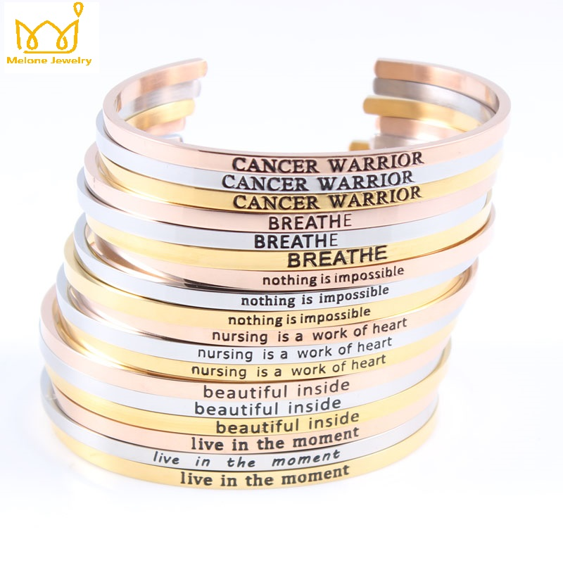 (Silver Rose Gold) 316L Stainless Steel Engraved Positive Inspirational Quote Cuff Mantra Bracelet Bangle for Women Men Jewelry