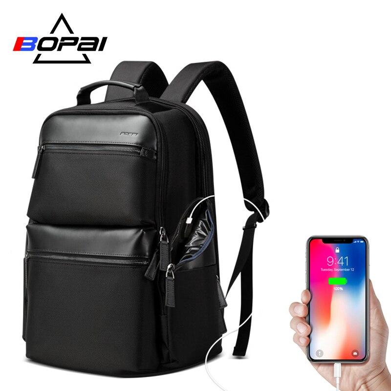 BOPAI Anti roubo de Carregamento USB Mochila de Viagem Bolsa Para Laptop de Couro de Vaca para 15.6 polegada de Negócios de Grande Capacidade Mochila Impermeável