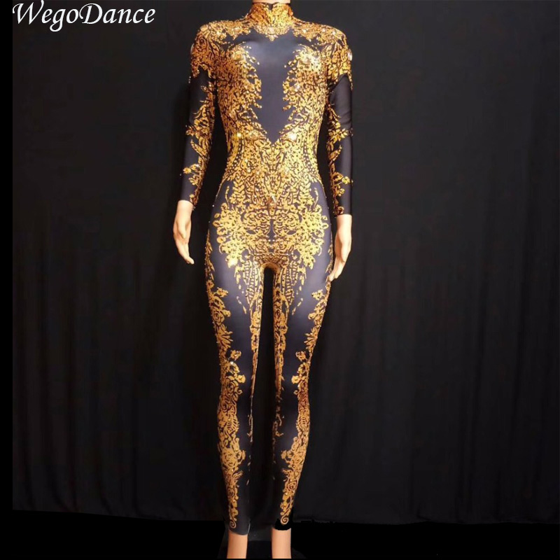 Women's Clothing Learned 2019 Women New Sexy Tassels Bodysuit Gold Rhinestone Tassel Costume Dj Singer Prom Celebrate Outfit Skinny Costume Jumpsuit