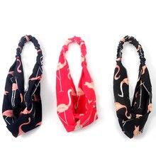 все цены на Women Headbands Turban Summer Headband Headwrap Flamingo Hair Accessories for Women Bandanas Hairbands Girls Hair Bands Headwear онлайн