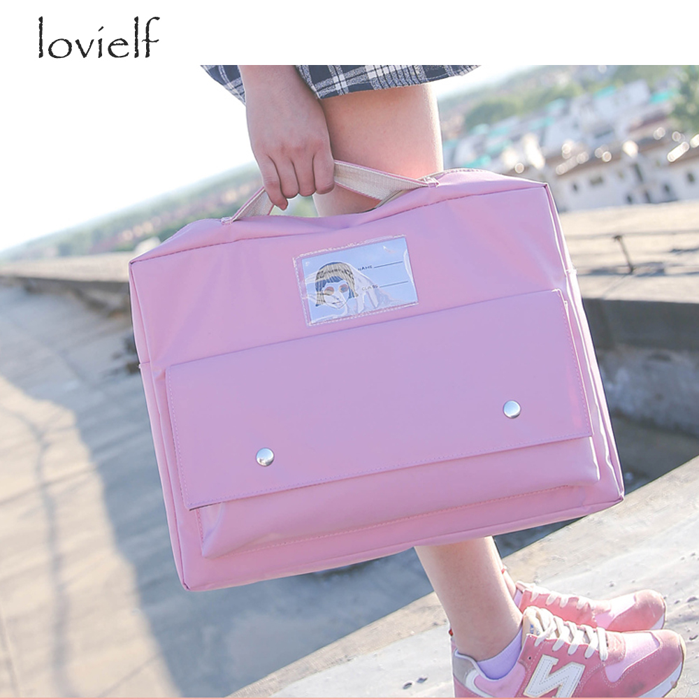 HOT preppy style Nylon Teenager college student school Book A4 Backpacks Computer Bags PINK BLUE Black adolescent objective first 4 edition student s book without answers cd rom