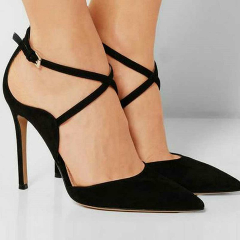 Clearance Sale Handmade Ladies High Heel Pumps Cross straps Party Prom Fashion Dress Evening Shoes M003 in Women 39 s Pumps from Shoes