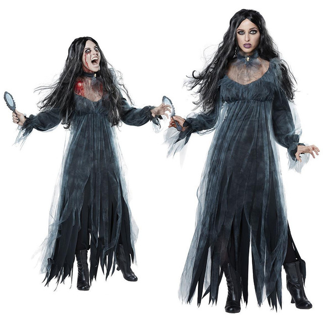 2018 Women Halloween Costumes New Horror Zombies Ghosts Bride Dress Bars Halloween Party Cosplay Devil Vampire Black Fancy Dress