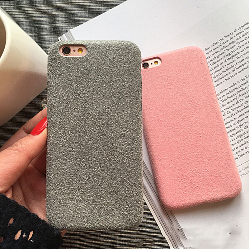 wholesale dealer c3a4a c2d70 US $2.0 20% OFF|Fashion Simply Soft Velvet Warm Phone Cases For IPhone X XS  MAX XR 8 7 6 6S Plus Coverring Hard Back Cover Hot Pink 4 Colors-in Fitted  ...