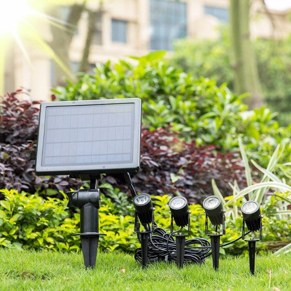 Solaire Projecteur Extérieur IP65 Étanche Pelouse Paysage Éclairage 4 led Réglable Solaire Feux Mur De Sécurité pour Jardin, Arbres