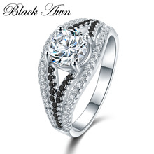 [BLACK AWN] 4.5g 925 Sterling Silver Jewelry Wedding Rings for Women Black&White Stone Engagement Ring Femme Bijoux Bague C411