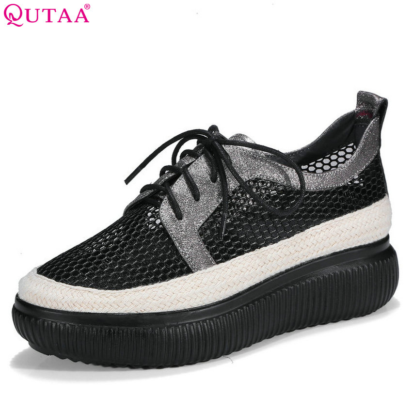 QUTAA 2018 Women Pumps Platform Wedges Heel Fashion Women Shoes Sheep Skin + Mesh Westrn Style Casual Ladies Pumps Szie 34-39 цена