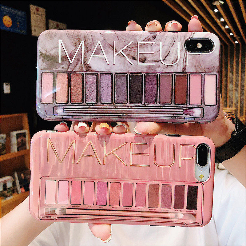Women makeup <font><b>case</b></font> for <font><b>iphone</b></font> 7 <font><b>case</b></font> 11 Pro Max fashion <font><b>case</b></font> phone eyeshadow palette glossy cover 6 6s 8 7 plus x xs max <font><b>xr</b></font> coque image