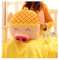 gift fruit style watermelon pineapple grapes McDull pig soft coral velvet baby blanket cushion hand warm stuffed toy gift 1pc