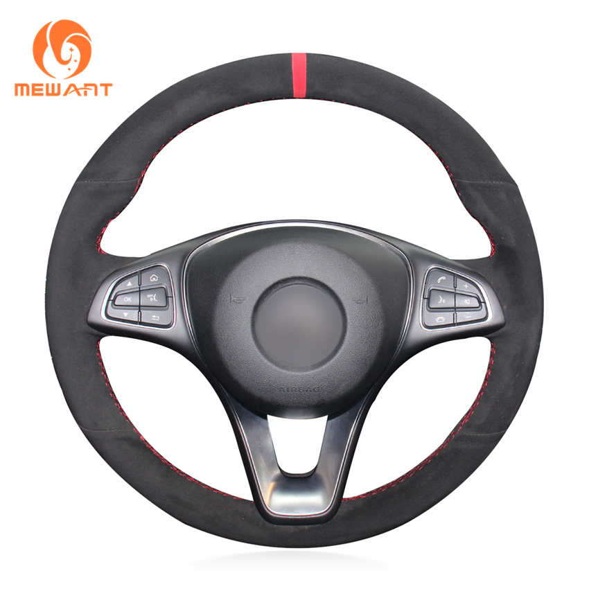 MEWANT Black Suede Red Marker Hand Sew Fashion Style Wrap Car Steering Wheel Cover for Mercedes