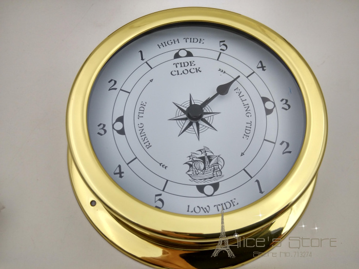 new 1pcs 145mm brass case traditional weather station analog tide clock gold metal white dial tc145 - Tide Clock
