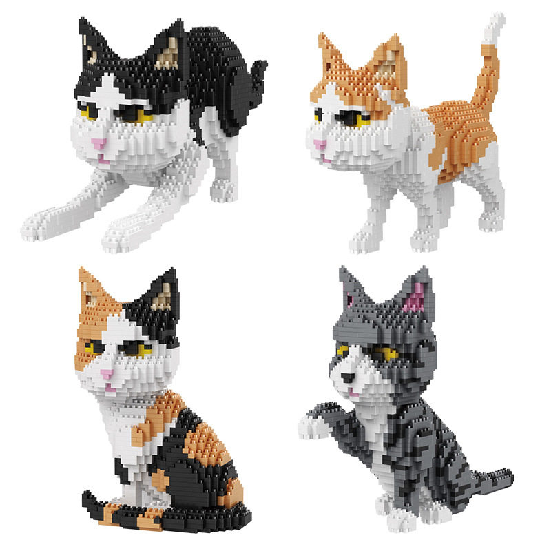 Balody Diamond Blocks Cartoon Building Toys Cat Assembly For Children Juguetes Animal Model Kids Gifts Girls Present 16036