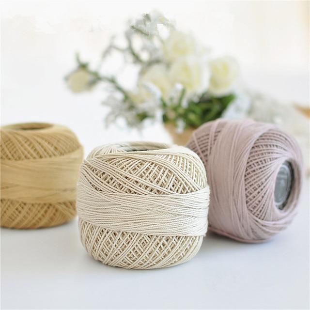 1 unids 50g/bola alta calidad #3 Encaje algodón Hilado para crochet ...