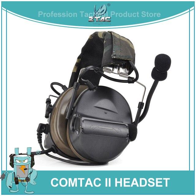 Ztac Peltor Tactical Headset Helmet PTT Active Hunting Comtac II Noise canceling Airsoft Acessorios Tactical Headphones  Z041