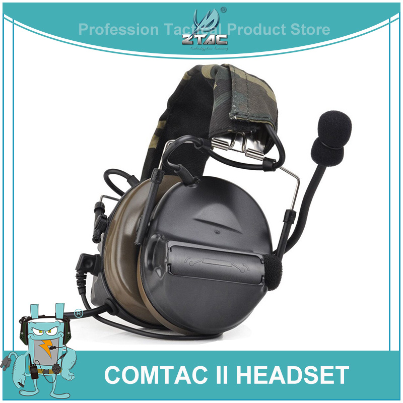 Ztac Tactical Comtac II Military Aviation Accessories Headphone Active Hunting Shooting PTT Peltor Noise Reduction Headset Z041-in Tactical Headsets & Accessories from Sports & Entertainment