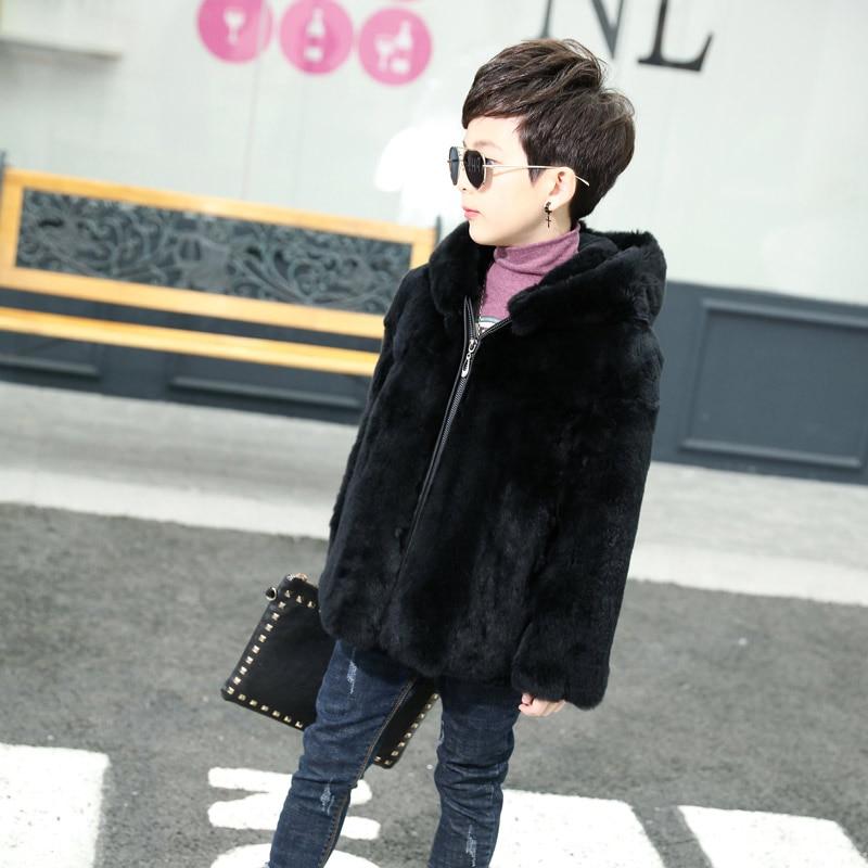 2018 crianças novas meninos jaqueta de couro de pele de coelho com capuz de pele realmente coelho natural casaco de pele de corpo inteiro longo TTH-0164