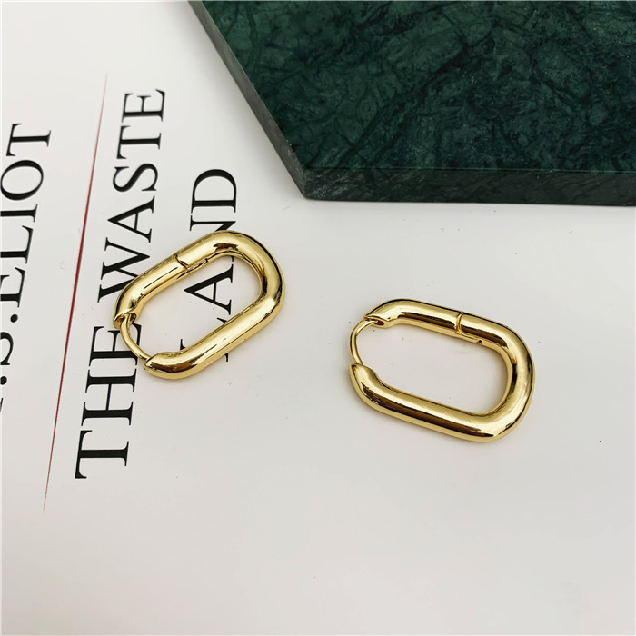 Fashion Open Twisted Gold Hoop Earrings for Women Geometric U shape Circle Female Minimalist Metal Earrings jewelry in Hoop Earrings from Jewelry Accessories