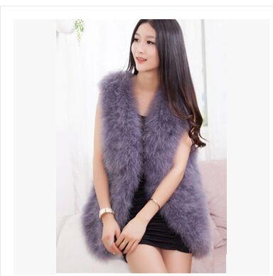 UPPIN Neue Mode 2018 Frauen Winter Pelz Weste Verschlüsselung 100/% Natürliche Straußen Federn Türkei Feder Pelz Weste Pelz Mantel