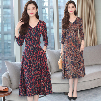 2873b55a83b Autumn Winter New 3XL Plus Size Vintage Midi Dresses 2018 Women Elegant  Bodycon Floral Dress Party Long Sleeve Runway Vestidos