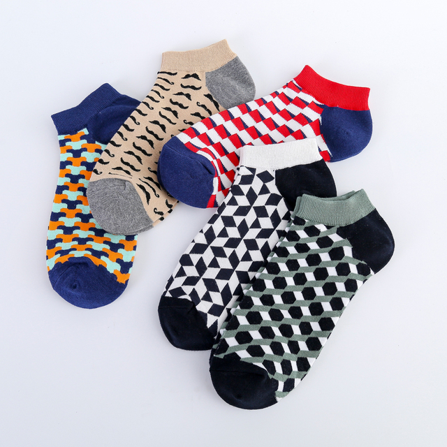 Jhouson Colorful Classic Beard Geometry Pattern Funny Ankle Sock Fashion Men's Cotton Novelty Summer Casual Socks For Male 3