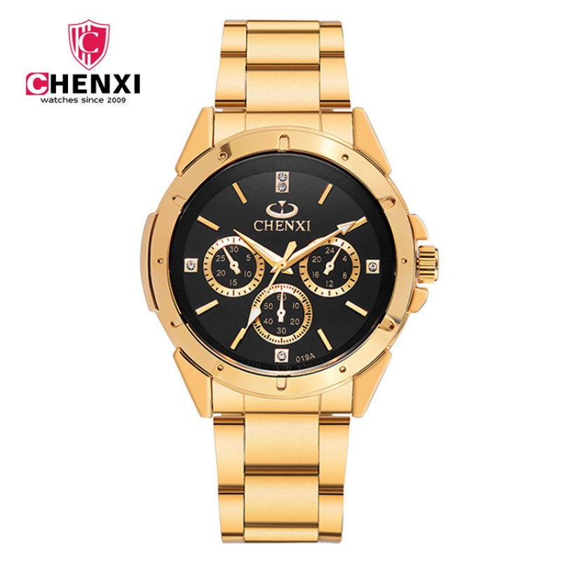 Prix pour Top marque de mode de luxe chenxi montres hommes d'or business casual montre à quartz étanche homme relogio masculino pengnatate