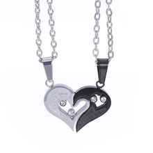 2pcs Matching Lovers Relationship Stainless Steel Pendant Necklaces Set Valentines Couple Puzzle Necklace Gift For Girlfriend