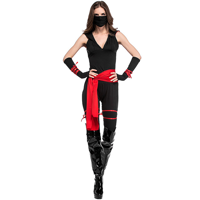 Black Masked Ninja Warrior Costume For Women Night Role Playing Funny Adult  Pirate Uniforms Cosplay Halloween Party Clothes