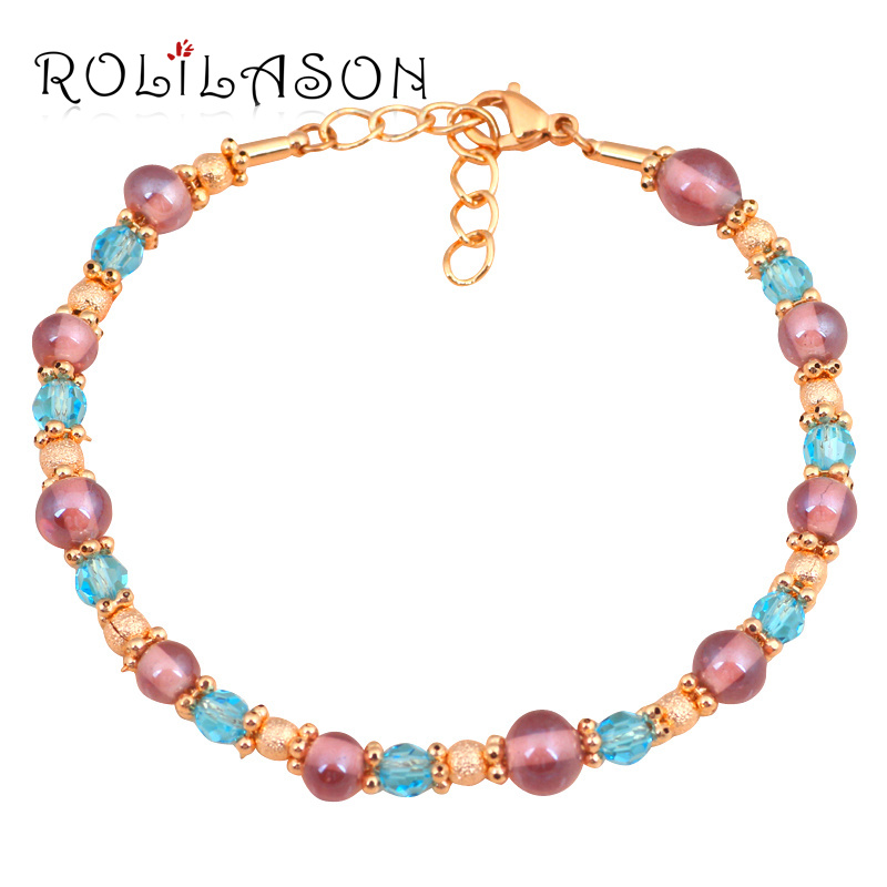 Ladies style New Brand Design Charm Bracelets Gold Tone Color Crystal Health Fashion jewelry for Dinner TB822