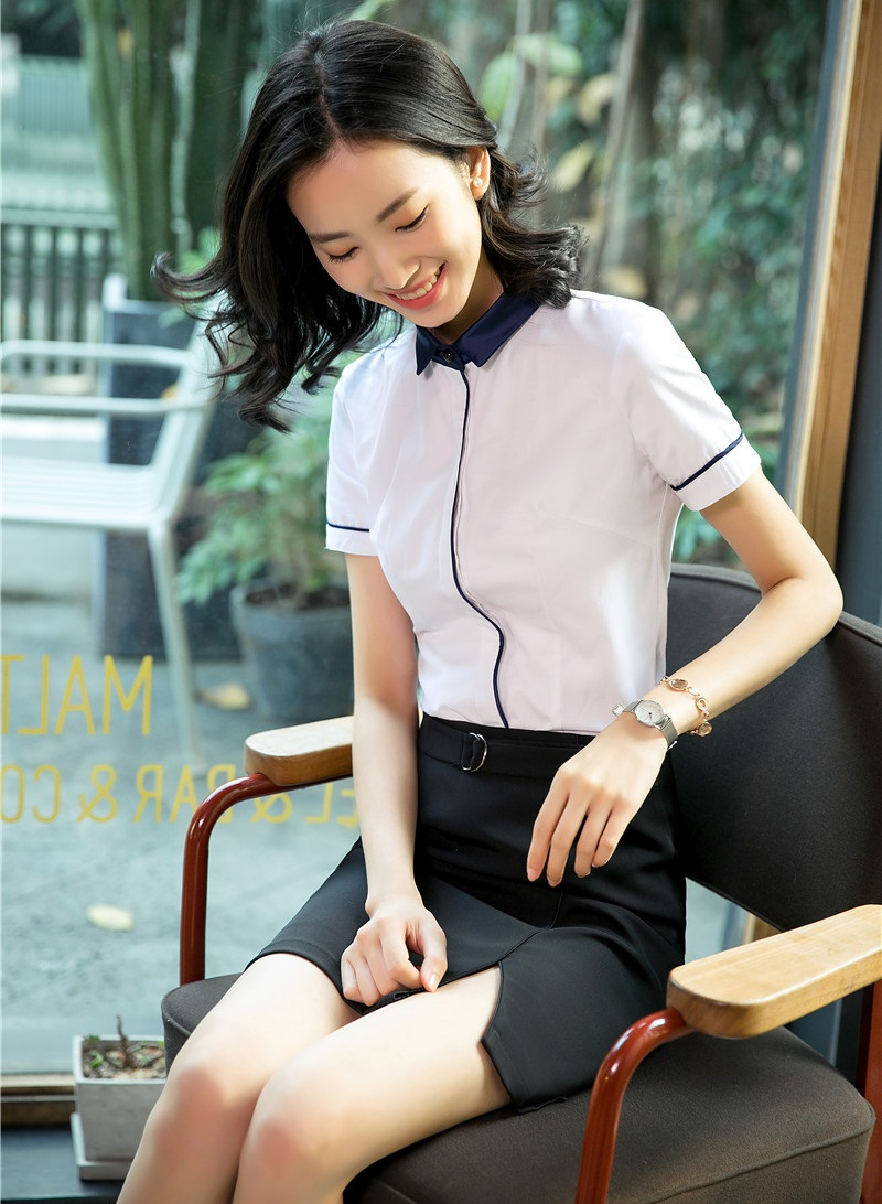 Shirts Ladies Summer Short Women Top Blue Sets Business Skirt And Blouses Dark 2 Sleeve Piece Suits 4Rx4OFwp