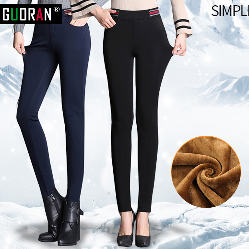 0f54eec77d2 2016 Winter Women High Waist Pencil Pants thick Fleece Warm Trousers Female  Femme Velvet Warm Pants Plus Size Pantalon Femme
