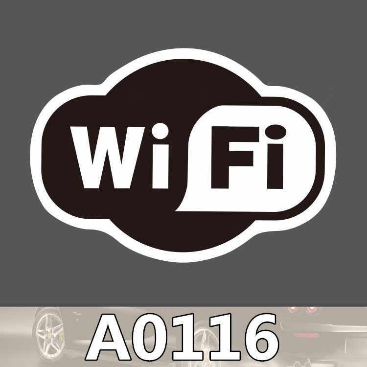 A0116 wifi logo çıkartması burcu dükkanı siyah beyaz su geçirmez bavul dizüstü gitar bagaj kaykay bisiklet oyuncak güzel çıkartmalar