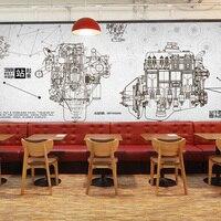3D fotoğraf kağıdı Endüstriyel rüzgar otomobil parçaları duvar kağıdı 3D metal makineleri tema restoran KTV Cafe lounge bar mural