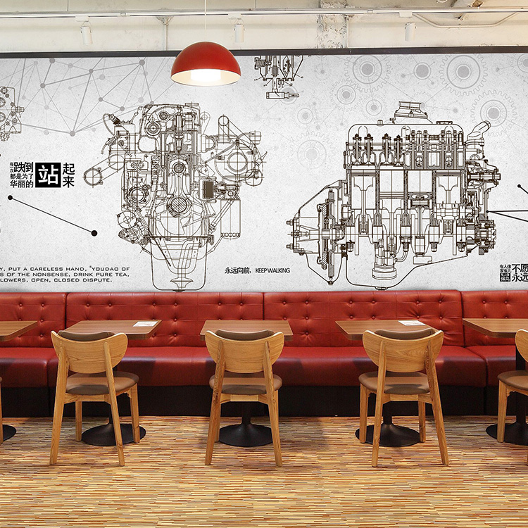 3D photo wallpaper Industrial wind auto parts wallpaper 3D metal machinery theme restaurant KTV Cafe lounge bar mural