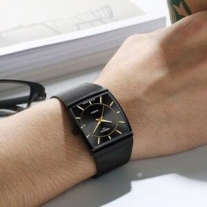 Image 5 - Nibosi marca de luxo relógios masculinos aço inoxidável malha banda quartzo esporte relógio cronógrafo masculino relógios de pulso relógio quadrado