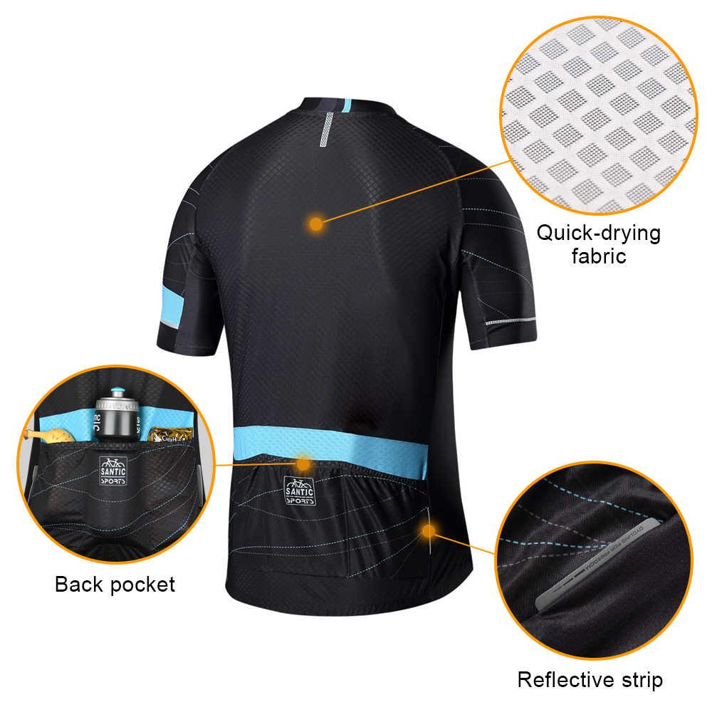 산티크 남자 사이클링 저지 프로 맞는 Antislip 슬리브 커프 도로 자전거 MTB 짧은 소매 통기성 유니폼 아시아 크기 K7M2026