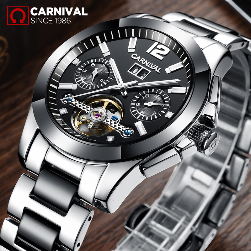 Carnival Watch Fully-Automatic Mechanical Watch Male Casual Mens Watch Luminous Ceramic And Stainless Steel Waterproof carnival ceramic pair watch men and women 100