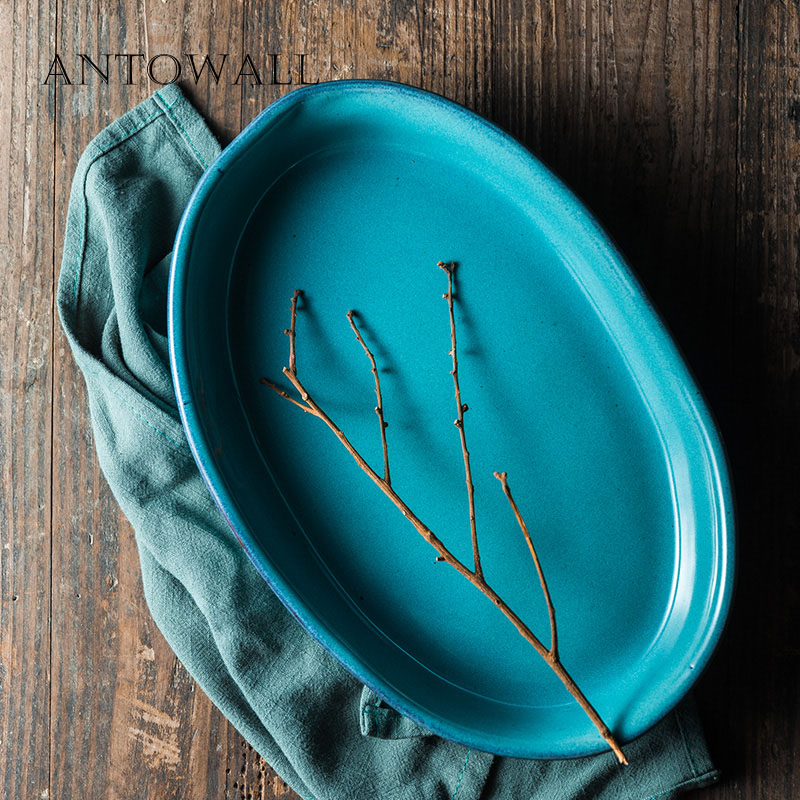ANTOWALL Ceramic tableware handmade 12inch big fish dish blue household fruit large deep plate western dish grilled rice dish