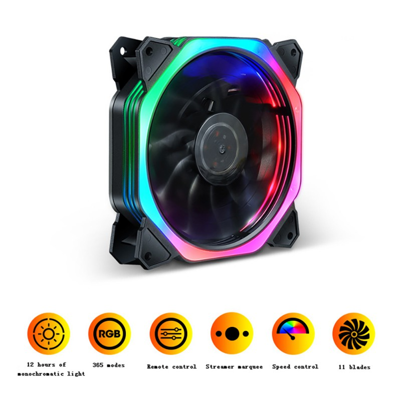 120mm Colorful RGB LED Cooling Fan Computer PC Host Chassis Cooler Fans With 11 Fan Blades Ultra Quiet