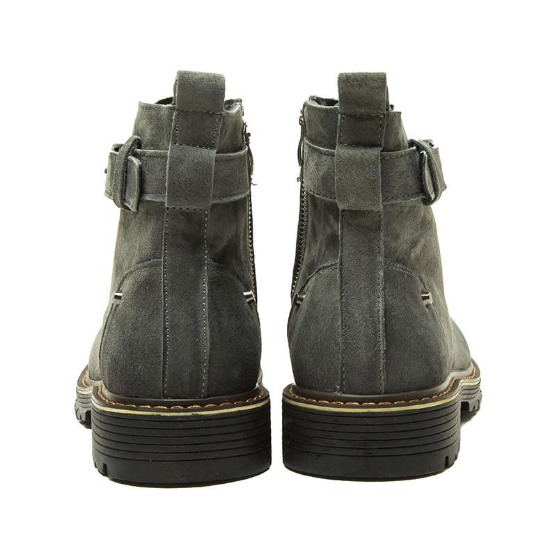 Cheville Porc Hommes De Zéro jaune Solide Noir Plus Rond gris Lacent Désert Suède Éclair Mode Bout Travail Cuir Chaussures Fermeture Bottes kuOZiPX