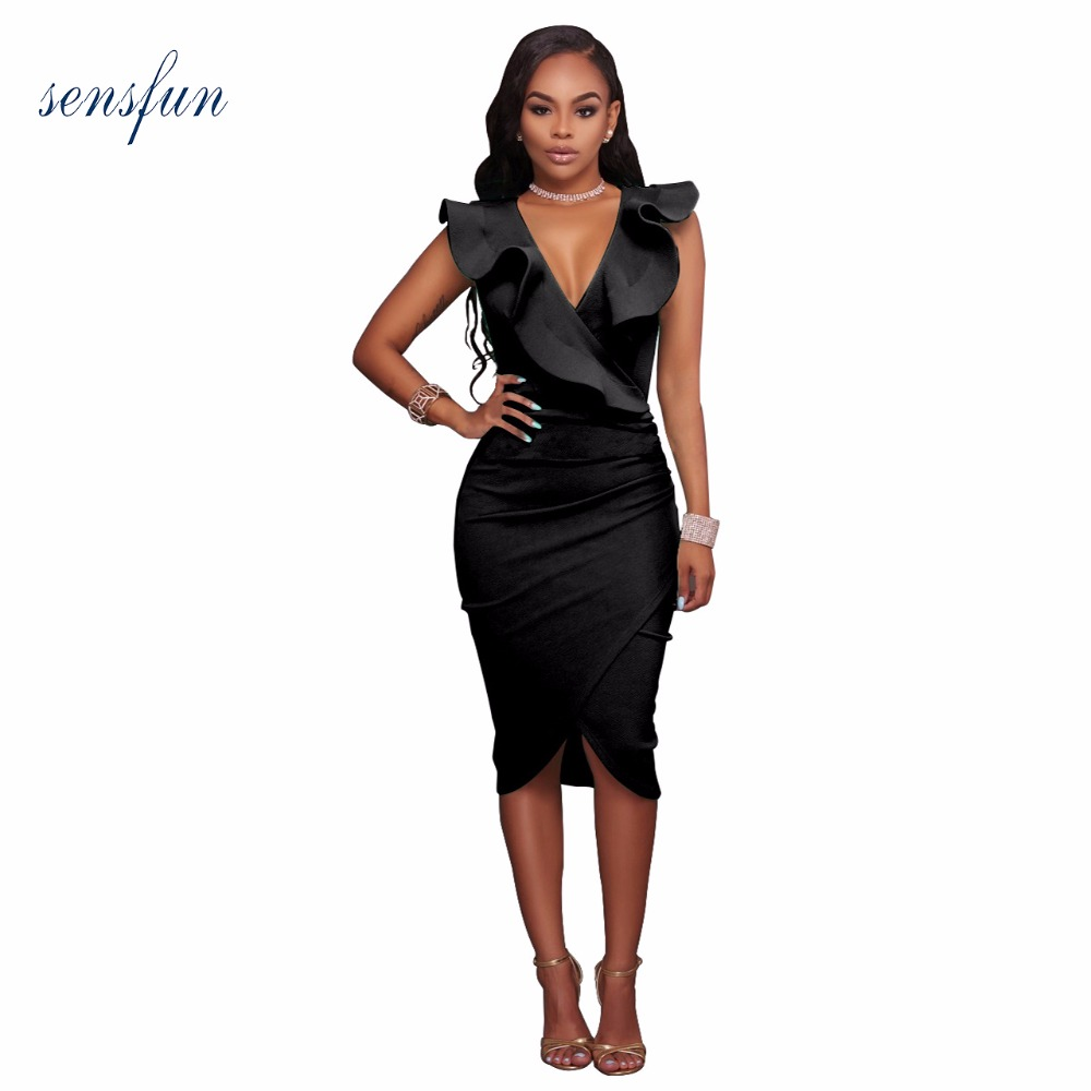 Sensfun Women Autumn Winter Elegant Vintage Sexy V-neck Work Party CelebrityCocktail Bodycon Sheath Dress Bandage Dress Vestidos