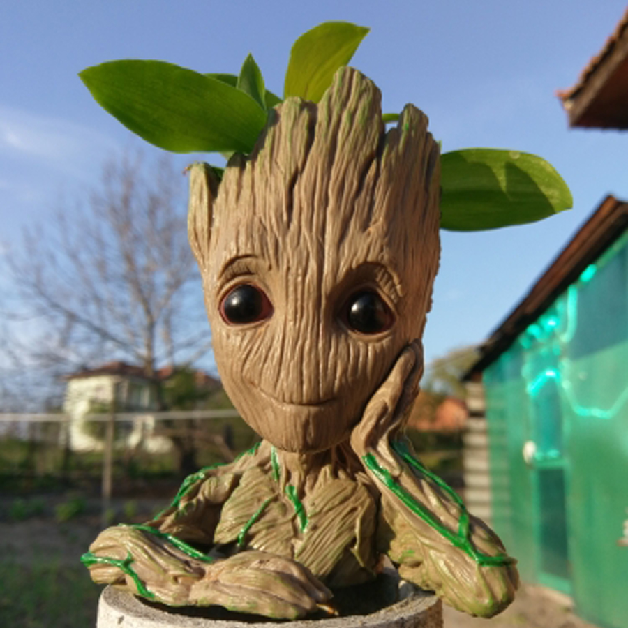 Baby Groot Flowerpot Action Figures Cute Guardians Of The Galaxy PVC Doll Creative Model Toy Pen Pot Birthday Gift Drop Shipping