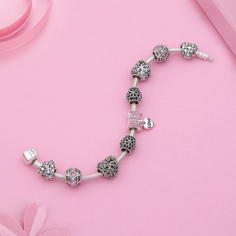 Anomokay New Antique Silver Color Heart Flower Charm Pan Bracelet Pink Crystal Diy Bead Bracelet for Women Girl Jewelry Gift in Charm Bracelets from Jewelry Accessories