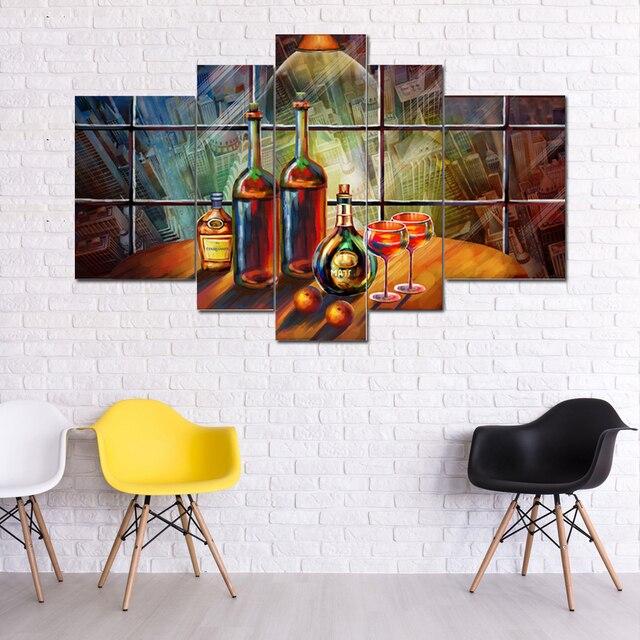 Olie Gedrukt wijnglas foto modulaire schilderij moderne muur kunst ...