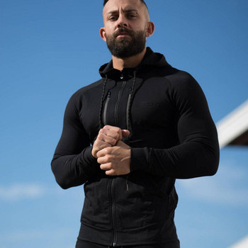 2018 Autumn New Men zipper Hoodies Fashion Casual Gyms Fitness Hooded Jacket Male Cotton Sweatshirts Sportswear Clothing Tops 1