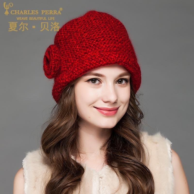 Καπέλες Καπέλων Καράτια Perra Καπέλα 2019 ΝΕΟ Χειροποίητο Πλεκτό Καπέλο Διπλό Στρώμα Χειροποίητο Μαλλί Πλεκτό Καπέλο Casual Female Beanies 2901